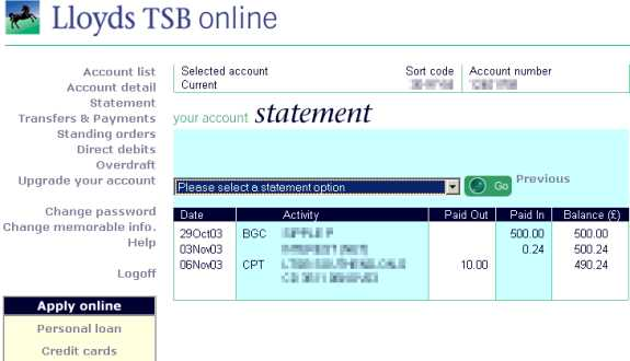how to pay off your lloyds tsb credit card online