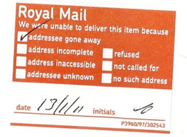 Royal Mail returned letter sticker